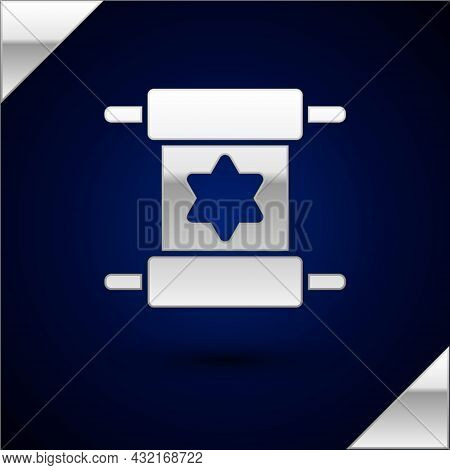 Silver Torah Scroll Icon Isolated On Dark Blue Background. Jewish Torah In Expanded Form. Star Of Da