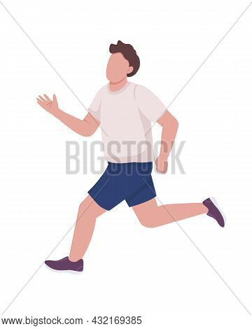 Running Athlete Semi Flat Color Vector Character. Workout Routine. Full Body Person On White. Traini