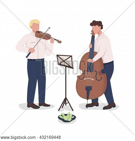 Violinist And Cello Player Performance Semi Flat Color Vector Characters. Full Body People On White.