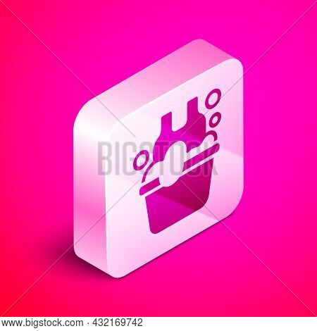 Isometric Plastic Basin With Soap Suds Icon Isolated On Pink Background. Bowl With Water. Washing Cl