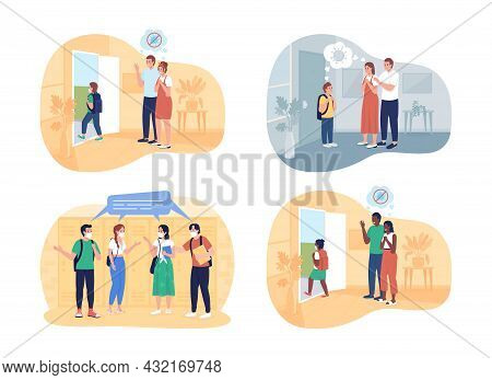 After Pandemic Returning To School 2d Vector Isolated Illustration Set. Parents And Their Kid Flat C