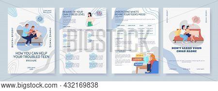 Help For Depressed Teen Flat Vector Brochure Template. Flyer, Booklet, Printable Leaflet Design With
