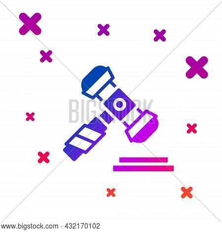 Color Judge Gavel Icon Isolated On White Background. Gavel For Adjudication Of Sentences And Bills,