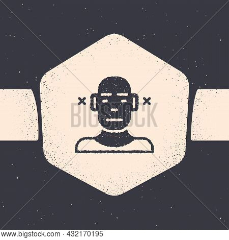 Grunge Deafness Icon Isolated On Grey Background. Deaf Symbol. Hearing Impairment. Monochrome Vintag