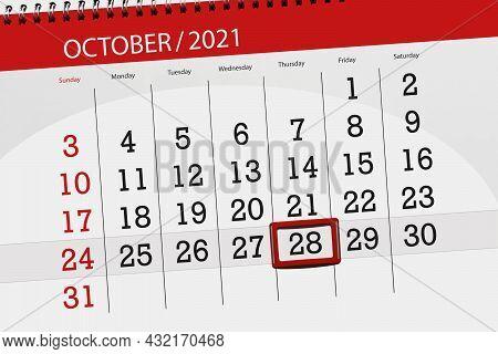 Calendar Planner For The Month October 2021, Deadline Day, 28, Thursday.