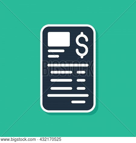 Blue Paper Or Financial Check Icon Isolated On Green Background. Paper Print Check, Shop Receipt Or