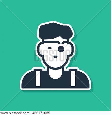 Blue Jeweler Man Icon Isolated On Green Background. Vector