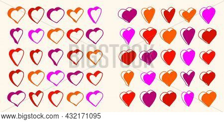 3D Dimensional Hearts Vector Icons Or Logos Set, Gift Boxes On Valentine Day, Heart Shaped Buttons,