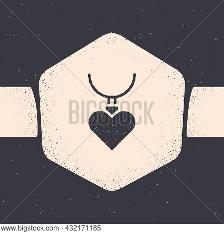 Grunge Necklace With Heart Shaped Pendant Icon Isolated On Grey Background. Jewellery Decoration. In