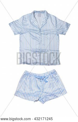 Night Gown Isolated. Close-up Of Blue Female Striped Cotton Sexy Nightwear Summer Set Of Shorts And