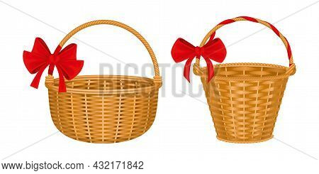 Wicker Basket Set With Two Isolated Images Of Baskets With Red Bows Handles And Wooden Texture Vecto
