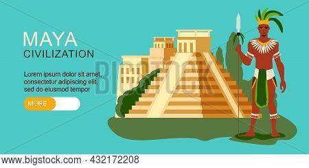 Maya Civilization Horizontal Banner With Ancient Mayan Pyramid Warrior And Editable Text On Color Ba