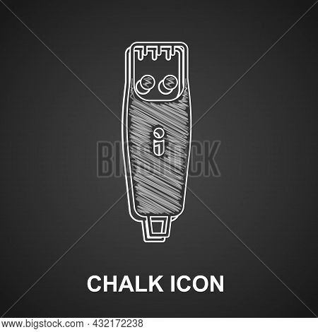 Chalk Electrical Hair Clipper Or Shaver Icon Isolated On Black Background. Barbershop Symbol. Vector