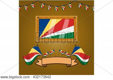 Seychelles Flags On Frame Wood, Label, Simple Gradient And Vector Illustration