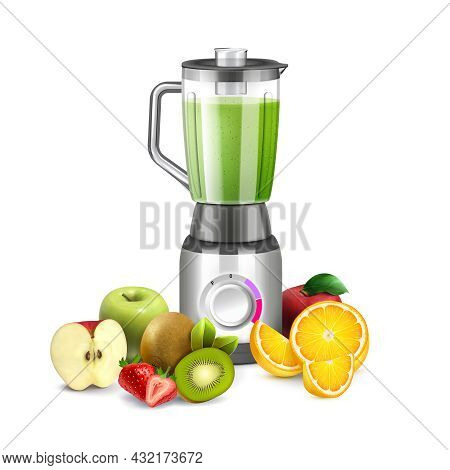 Blender Smoothie Realistic Composition With Isolated Image Of Kitchen Appliance Surrounded By Slices