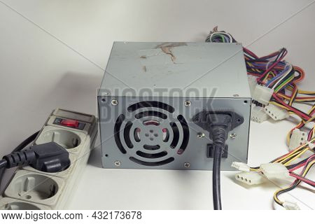 Computer Atx Non-modular Power Supply Unit, With Connected Power Cord. Switch On Surge Protector. Ol
