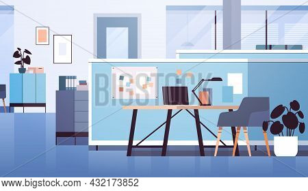 Modern Coworking Area Office Interior Empty No People Open Space Cabinet Room With Furniture Horizon