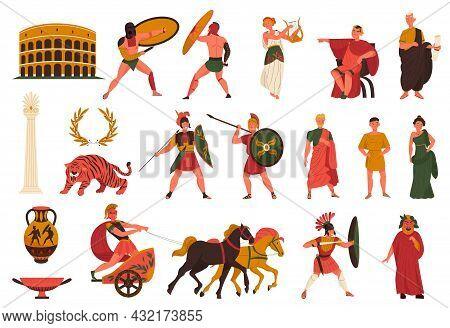 Ancient Roman Culture And History Symbols Set With Colosseum Amphora Gladiator Warrior Emperor Slave