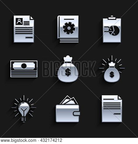 Set Money Bag, Wallet With Stacks Paper Money Cash, Document, Light Bulb Rays Shine And Concept Of I