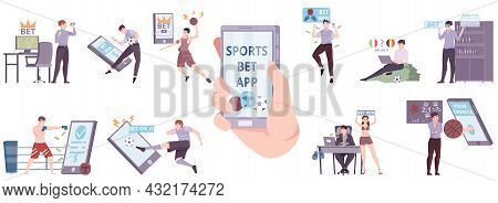 People Betting Online Flat Set With Sports Bet App On Smartphone Screen In Human Hand Isolated Vecto