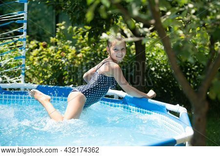 Summer Joy. Happy Child Have Fun In Pool. Chill Pool Day. Summer Vacation. Summer Time