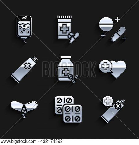 Set Medicine Bottle And Pills, Pills Blister Pack, Ointment Cream Tube Medicine, Heart With Cross, O
