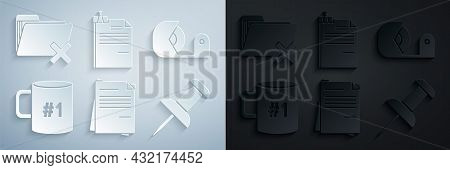 Set File Document, Scotch, Coffee Cup Flat, Push Pin, And Binder Clip And Delete Folder Icon. Vector