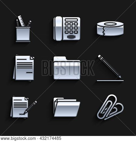 Set Document Folder, Paper Clip, Pencil With Eraser And Line, Blank Notebook Pencil, File Document,