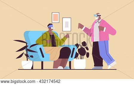 Senior Couple Wearing Vr Headset Grandparents In Digital Glasses Exploring Virtual Reality Interacti