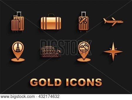 Set Coliseum In Rome, Italy, Plane, Wind Rose, Map Pointer With Mountain, Eiffel Tower, Suitcase For