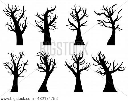 Autumn Trees Set Isolated On White Background. Silhouettes Of Trees Without Leaves. Bare Trees. Desi