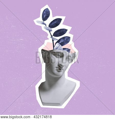 Contemporary Art Collage, Modern Creative Design. Composition With Bust Of Ancient Statue And Branch