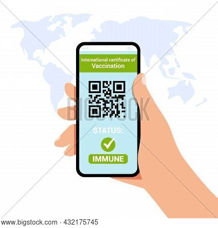 Health Passport Of Vaccination On Mobile Phone Screen With Qr-code Test For Coronavirus Infection In