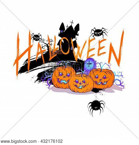 Halloween Illustration With Cute Pumpkins, Spiders And Sinister Castle On A White Background. Cartoo