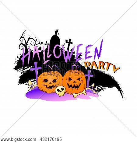 Vector Illustration With Smiling Pumpkins, Skull And Lettering Halloween Party On A White Background