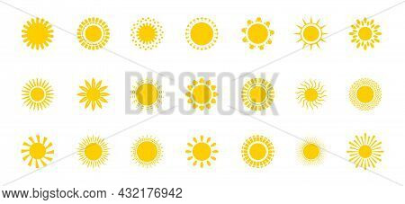 Bright Sun Icons Set Vector. Sunset Logo In Various Design On White Isolated Background.