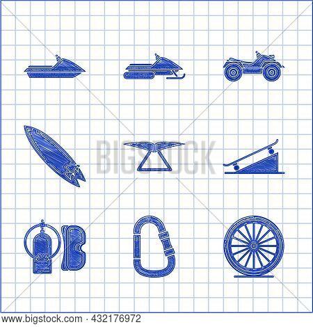Set Hang Glider, Carabiner, Bicycle Wheel, Skateboard On Street Ramp, Diving Mask And Aqualung, Surf