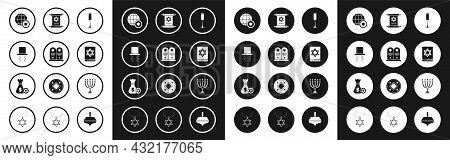Set Jewish Goblet, Tombstone With Star Of David, Orthodox Jewish Hat Sidelocks, World Globe And Isra