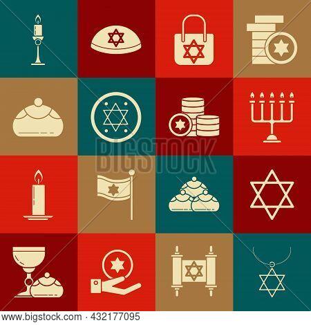 Set Star Of David Necklace On Chain, Hanukkah Menorah, Shopping Bag With Star David, Jewish Coin, Sw