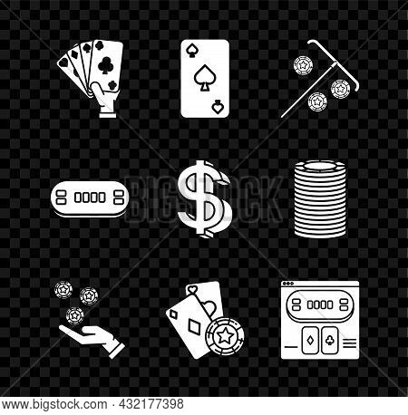 Set Hand Holding Playing Cards, Playing With Spades Symbol, Stick For Chips, Casino, Casino, Online