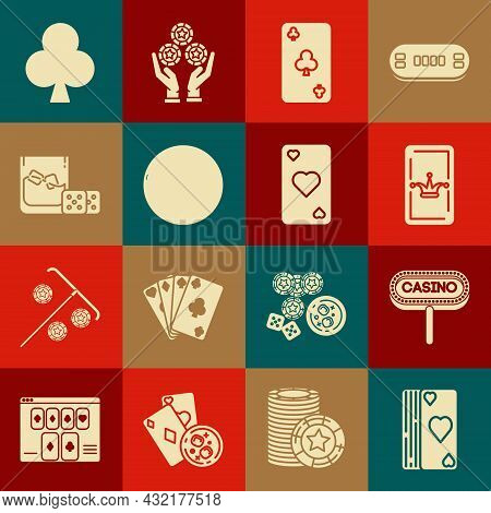 Set Deck Of Playing Cards, Casino Signboard, Joker, Playing With Clubs Symbol, Roulette Wheel, Game