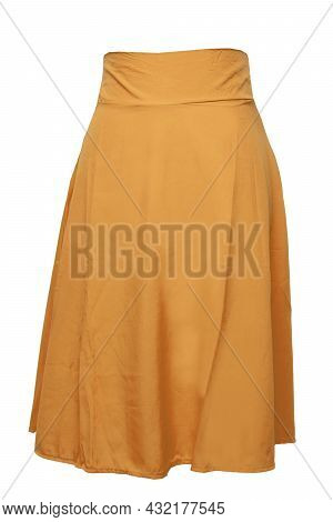 Woman Clothes Isolated. Closeup Of Elegant Beautiful Mustard Colored Summer Skirt On A Mannequin Iso