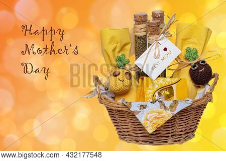 Mothers Day Greeting Card. Closeup Of A Gift Basket With Mediterranean Spice Mixes With A Best Mom T