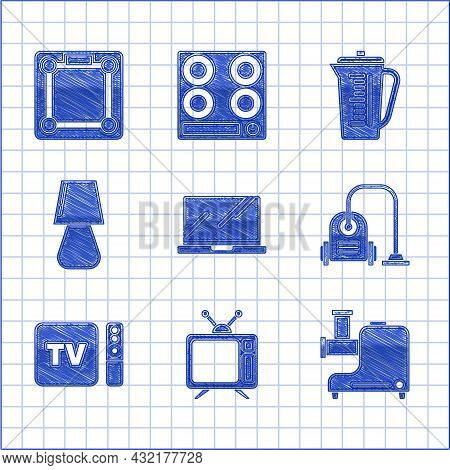 Set Laptop, Television, Kitchen Meat Grinder, Vacuum Cleaner, Tv Box Receiver And Player With Remote