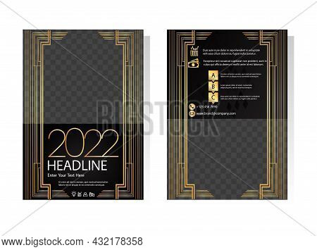 Art Deco Gold And Black Business Brochure Templates. Editable Geometry Leaflet, A4 Size Flyer, Book