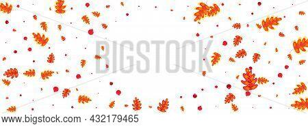 Green Plant Background White Vector. Leaves Gradation Frame. Red Leaf. Image Design. Orange Acorn Pa