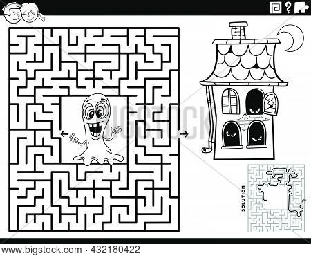 Black And White Cartoon Illustration Of Educational Maze Puzzle Game With Ghost And Haunted House Ch