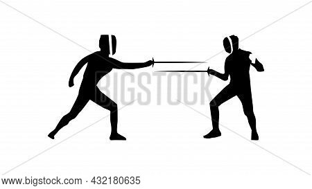Fencer Vector Silhouette. Fence Sparring Simple Isolated Icon.