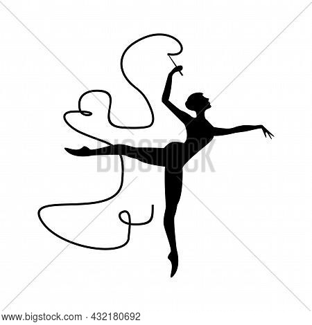 Woman Gymnast With Ribbon Vector Silhouette. Gymnast Simple Isolated Icon.
