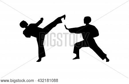 Karate Sparring Vector Silhouette. Karate Sparring Simple Isolated Icon.